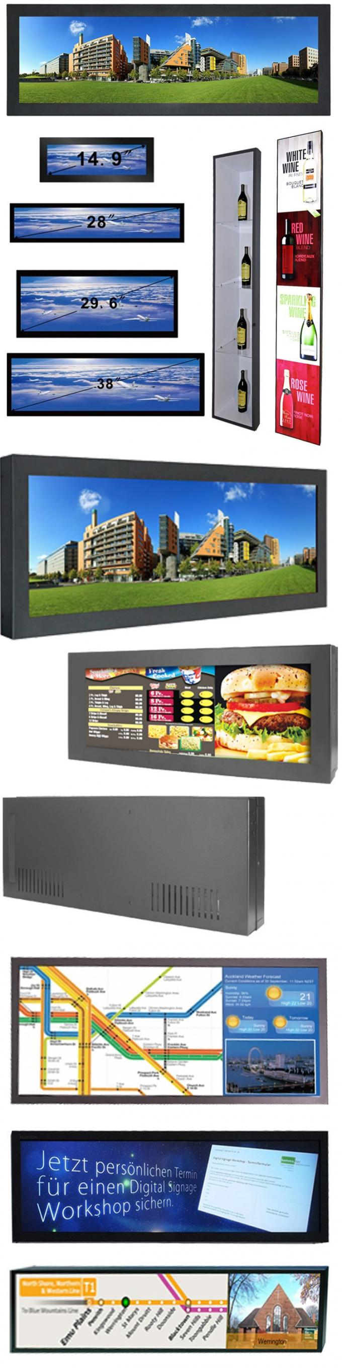 28 Inch High Resolution Wall Mounted Digital Signage Display For Supermarket