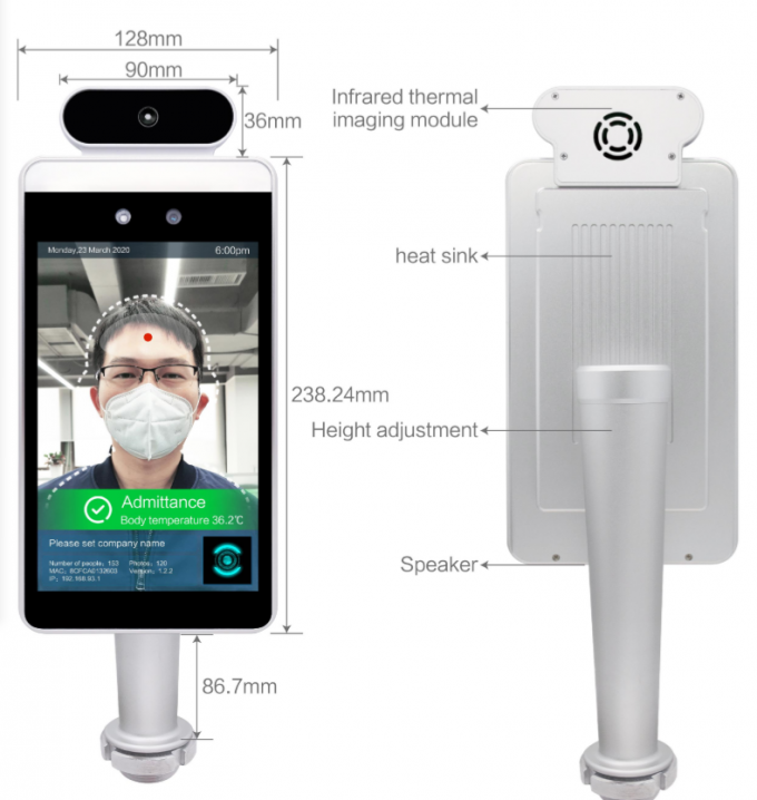 Temperature Measuremen Facial Recognition Thermometer Time Recording Access Control Device
