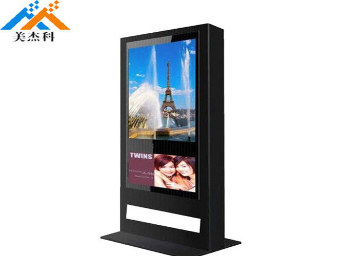 Floor Standing Outdoor Digital Signage Sunlight Readable Ip65 Lcd Kiosk 55''