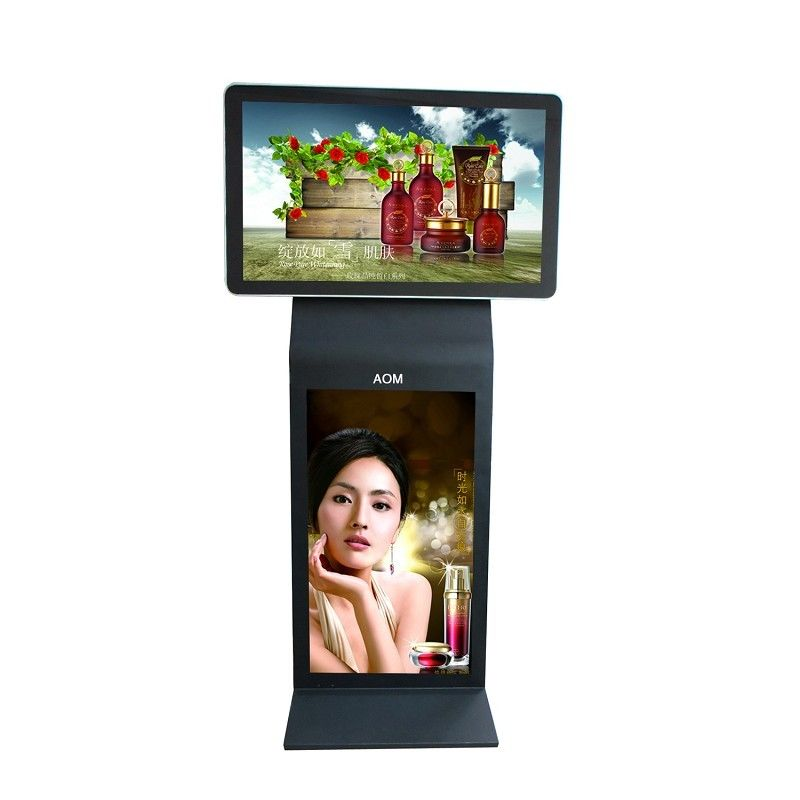 55 Inch Double Screen Kiosk LCD Digital Signage Display With Multi-Point Touch Panel