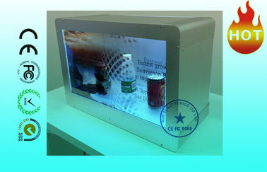 "HD Advertising 22"" Transparent LCD Display Wall mount With Show Case"